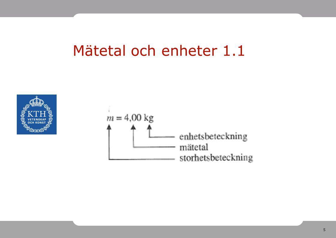 Mätetal och enheter 1.1