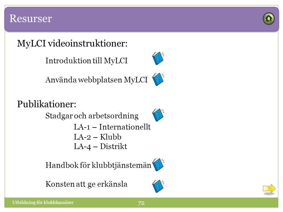 Resurser MyLCI videoinstruktioner: Introduktion till MyLCI