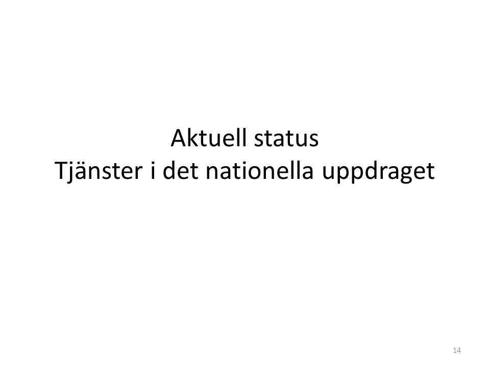 Aktuell status Tjänster i det nationella uppdraget