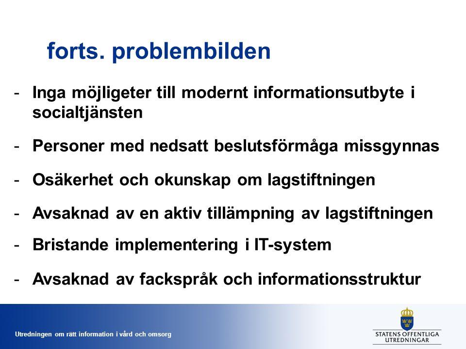 forts. problembilden Inga möjligeter till modernt informationsutbyte i socialtjänsten. Personer med nedsatt beslutsförmåga missgynnas.
