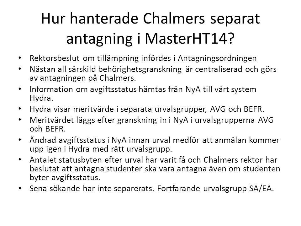 Hur hanterade Chalmers separat antagning i MasterHT14