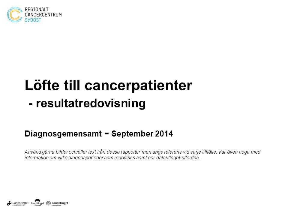 Löfte till cancerpatienter - resultatredovisning Diagnosgemensamt - September 2014 Använd gärna bilder och/eller text från dessa rapporter men ange referens vid varje tillfälle.