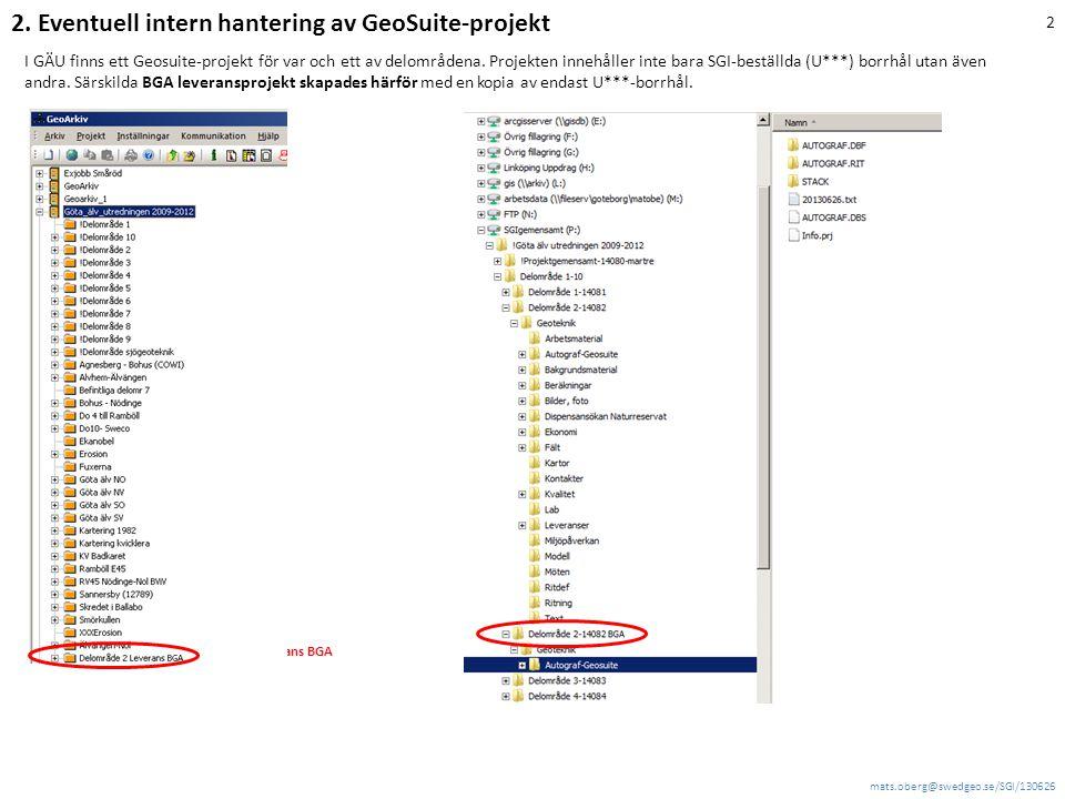 2. Eventuell intern hantering av GeoSuite-projekt