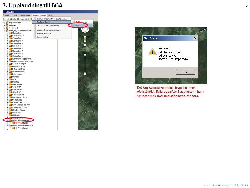 3. Uppladdning till BGA