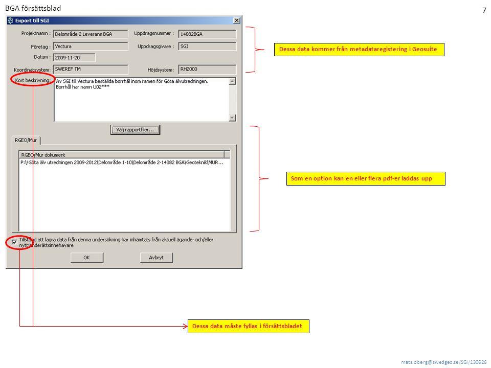BGA försättsblad Dessa data kommer från metadataregistering i Geosuite