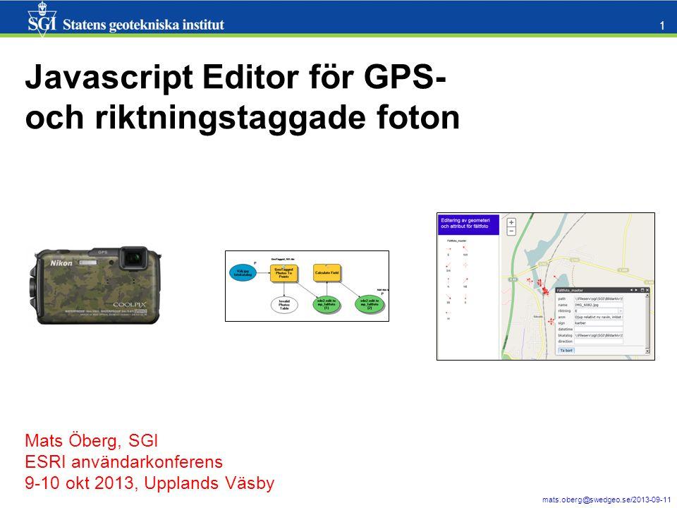 Javascript Editor för GPS- och riktningstaggade foton