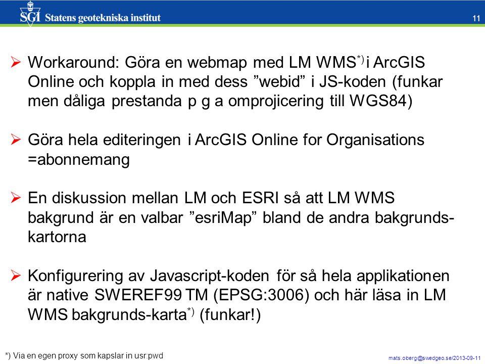Göra hela editeringen i ArcGIS Online for Organisations =abonnemang
