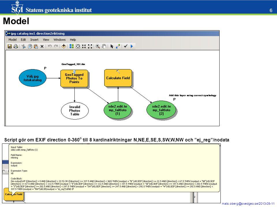 Model Script gör om EXIF direction 0-360o till 8 kardinalriktningar N,NE,E,SE,S,SW,W,NW och ej_reg /nodata.