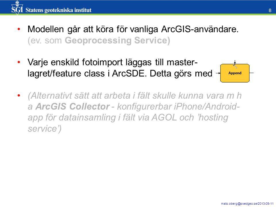 Modellen går att köra för vanliga ArcGIS-användare. (ev