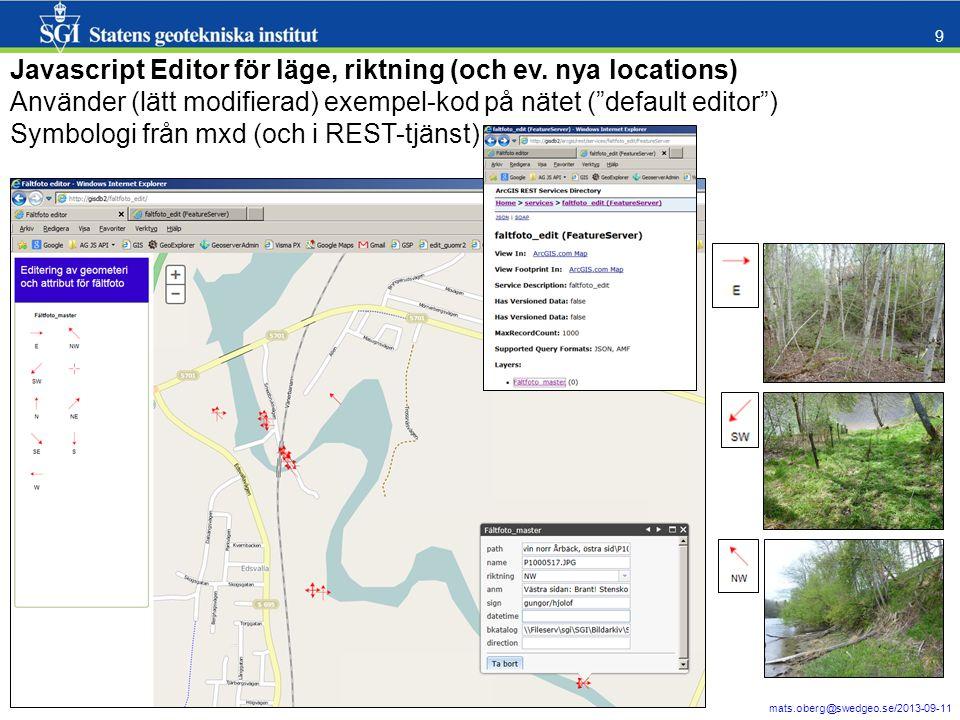 Javascript Editor för läge, riktning (och ev. nya locations)