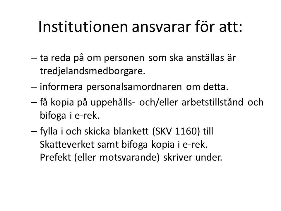 Institutionen ansvarar för att:
