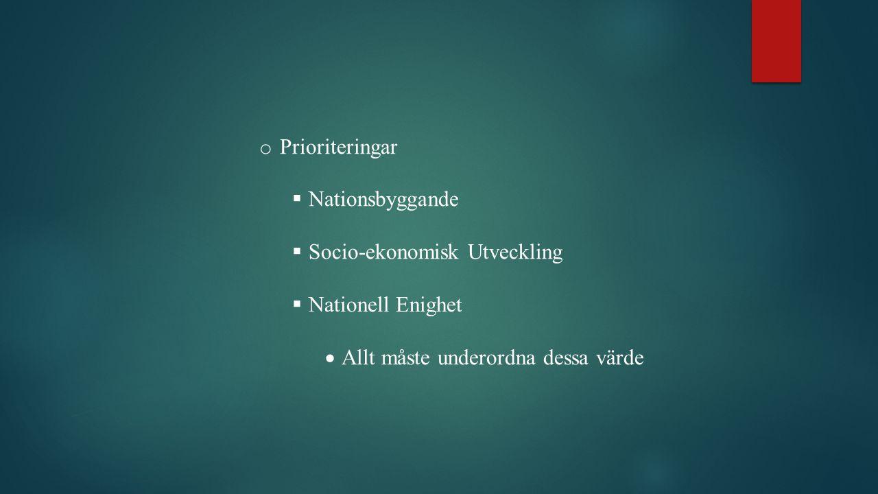 Prioriteringar Nationsbyggande. Socio-ekonomisk Utveckling.