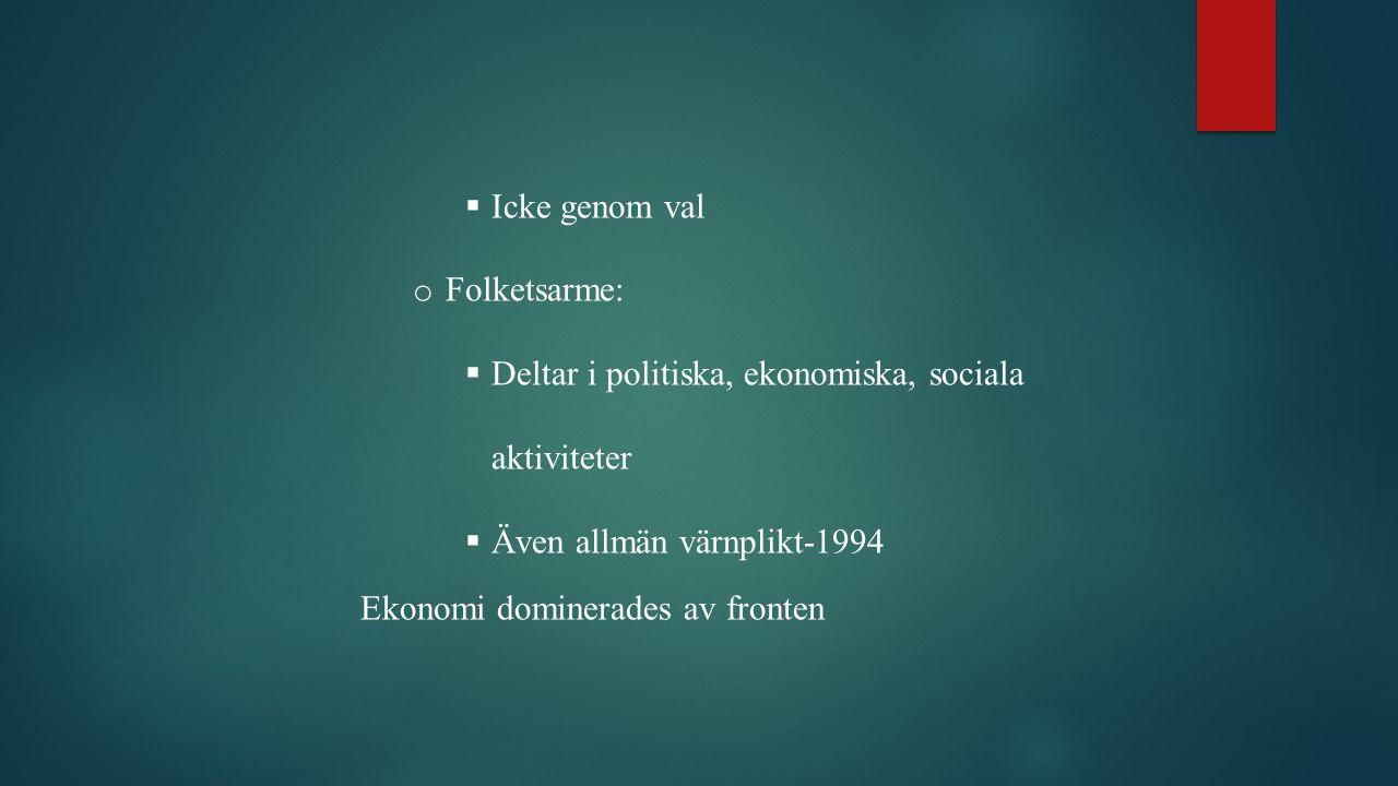 Icke genom val Folketsarme: Deltar i politiska, ekonomiska, sociala aktiviteter. Även allmän värnplikt-1994.