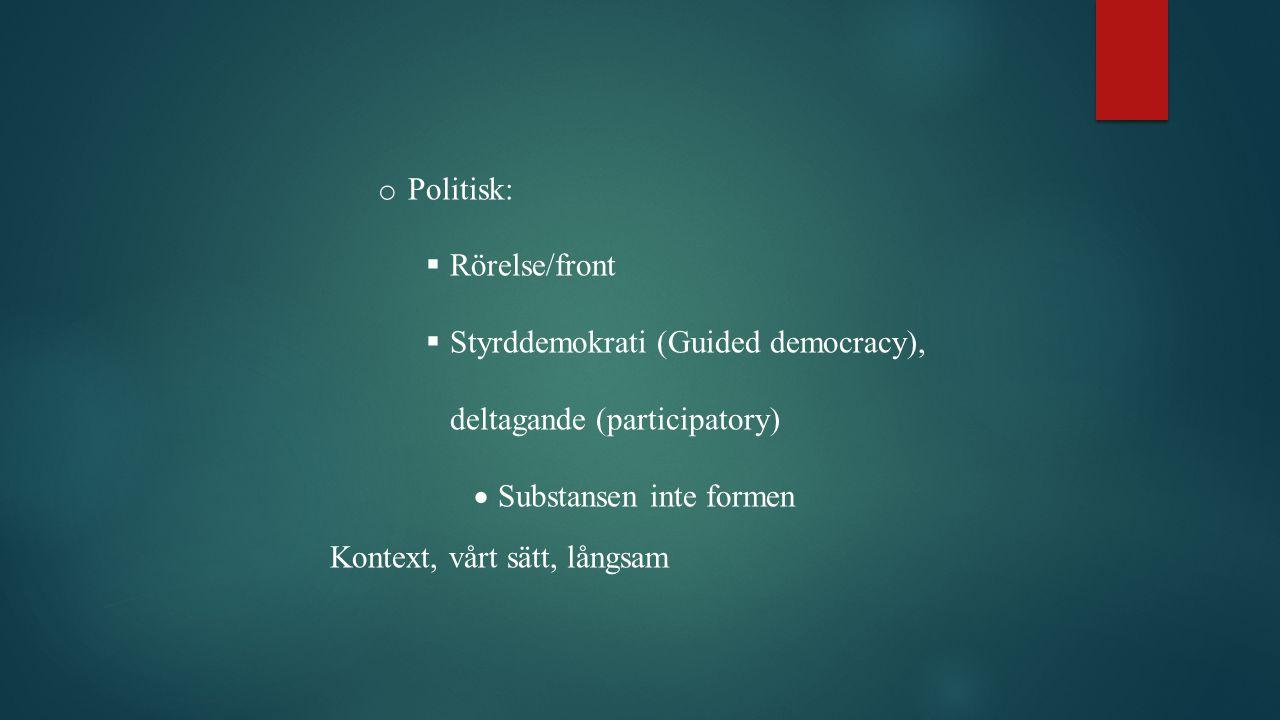 Politisk: Rörelse/front. Styrddemokrati (Guided democracy), deltagande (participatory) Substansen inte formen.