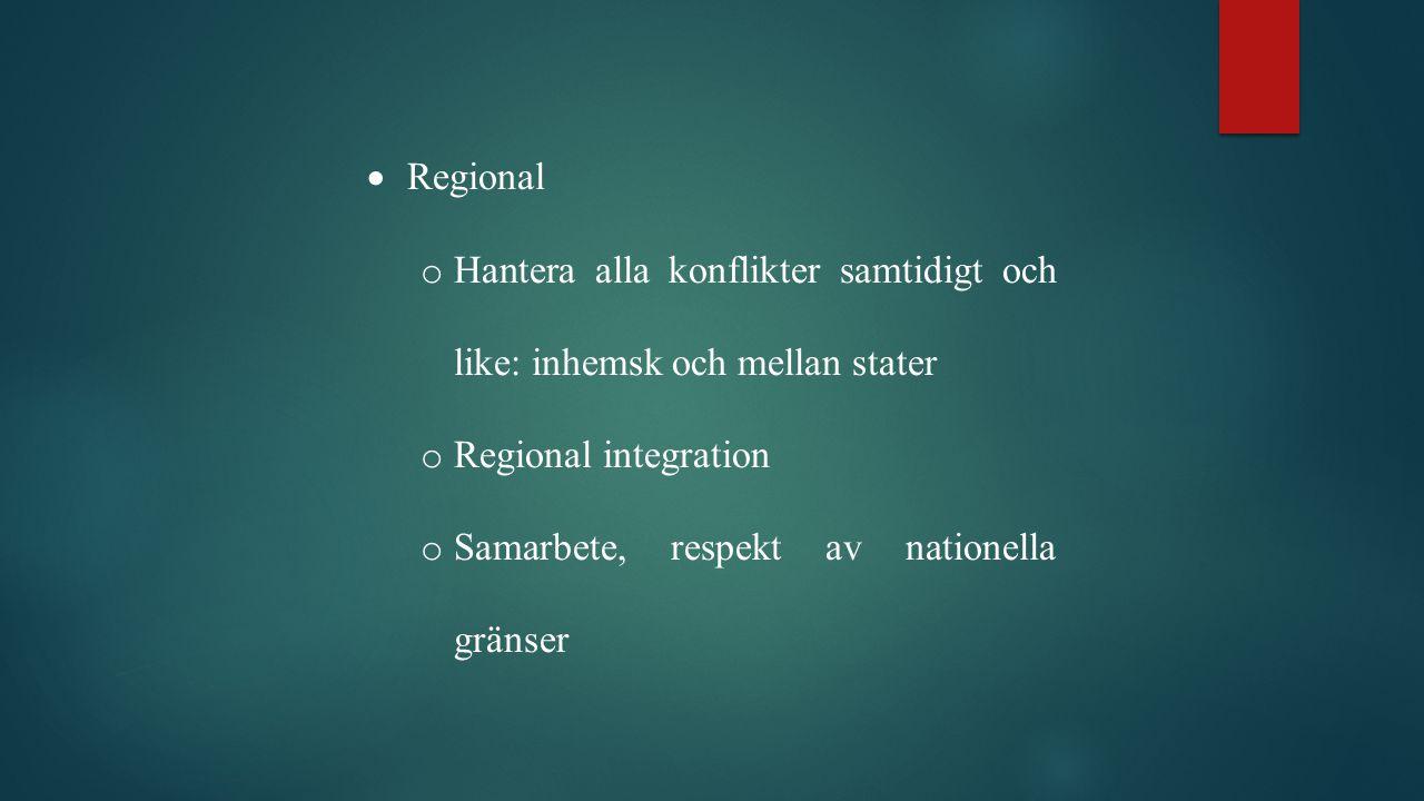Regional Hantera alla konflikter samtidigt och like: inhemsk och mellan stater. Regional integration.