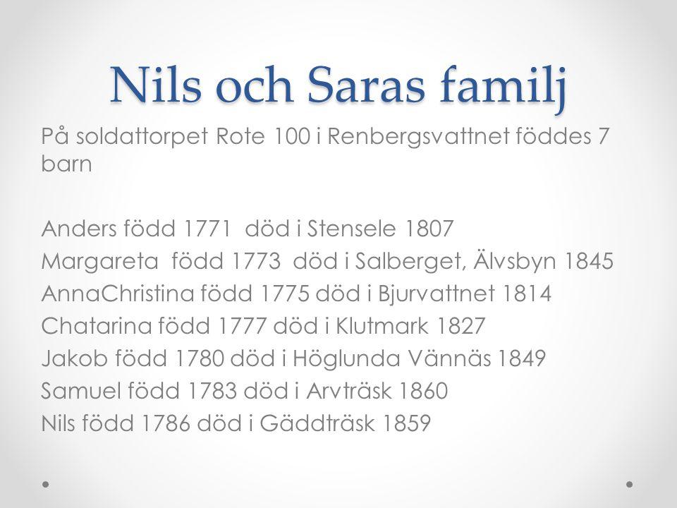 Nils och Saras familj På soldattorpet Rote 100 i Renbergsvattnet föddes 7 barn. Anders född 1771 död i Stensele 1807.