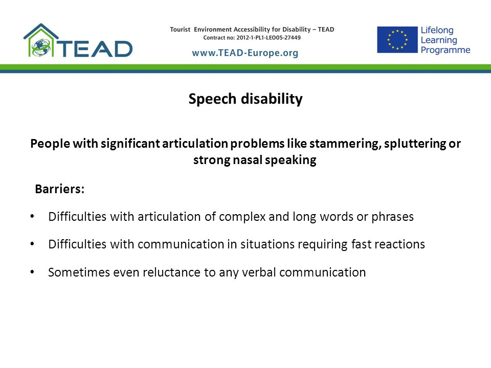 Barriers: Speech disability