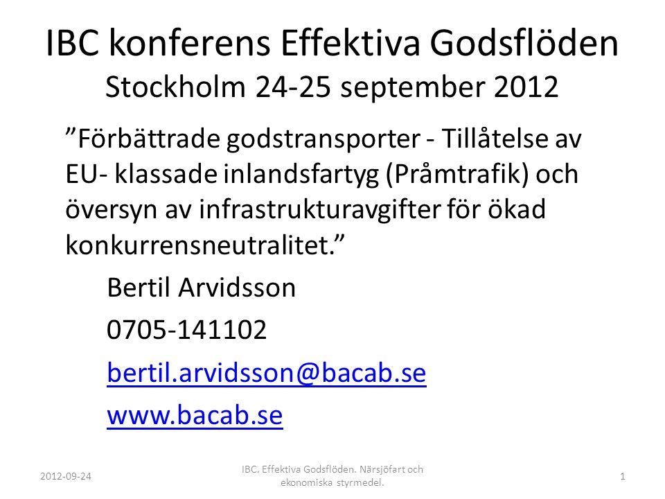 IBC konferens Effektiva Godsflöden Stockholm 24-25 september 2012