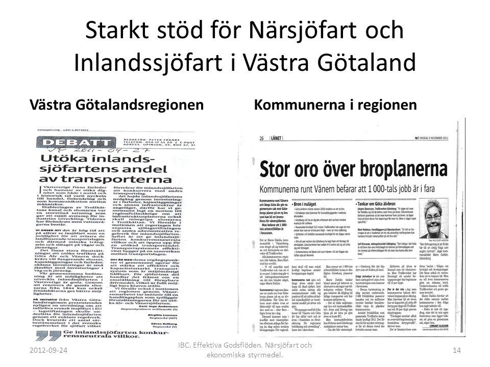 Starkt stöd för Närsjöfart och Inlandssjöfart i Västra Götaland
