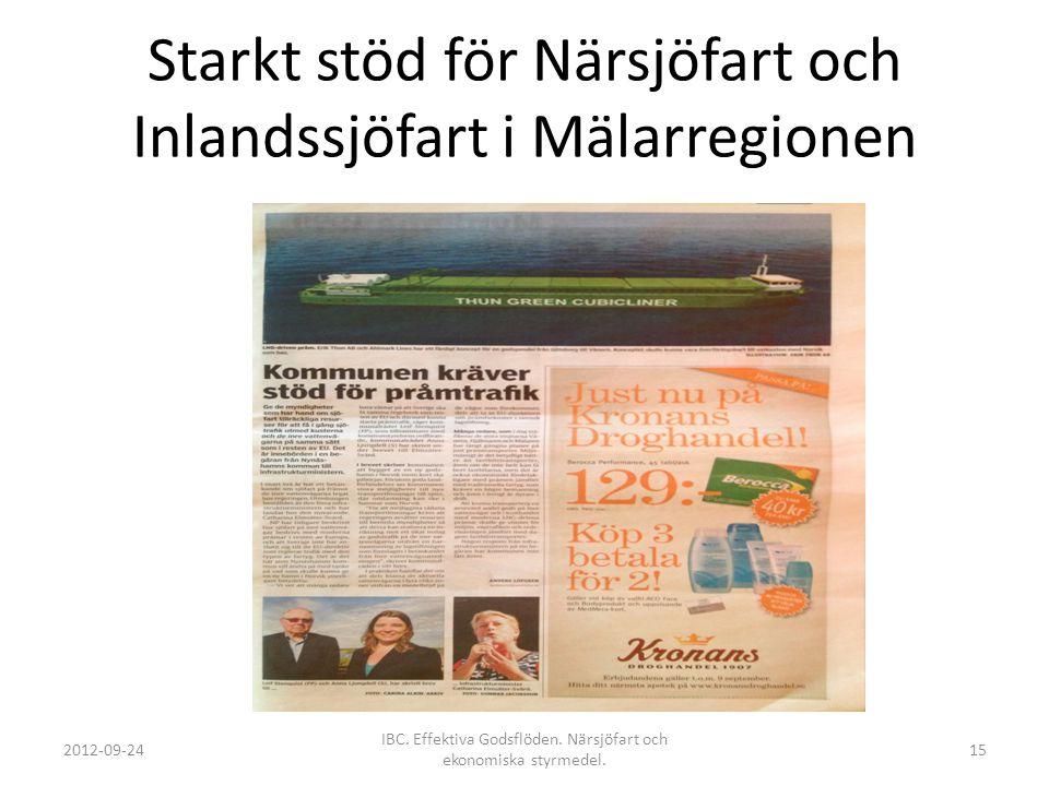 Starkt stöd för Närsjöfart och Inlandssjöfart i Mälarregionen