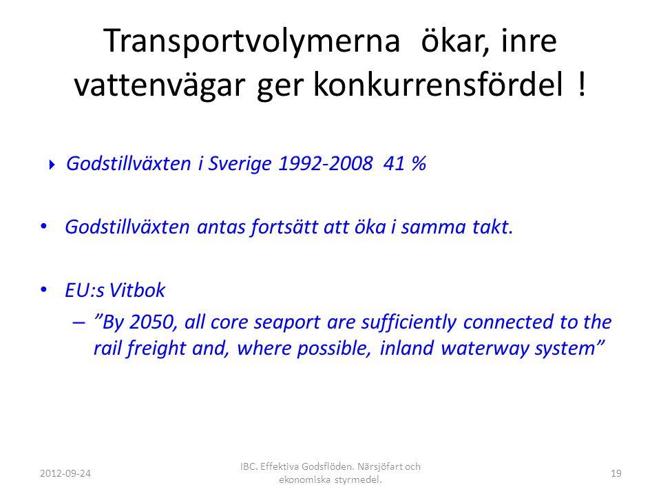 Transportvolymerna ökar, inre vattenvägar ger konkurrensfördel !