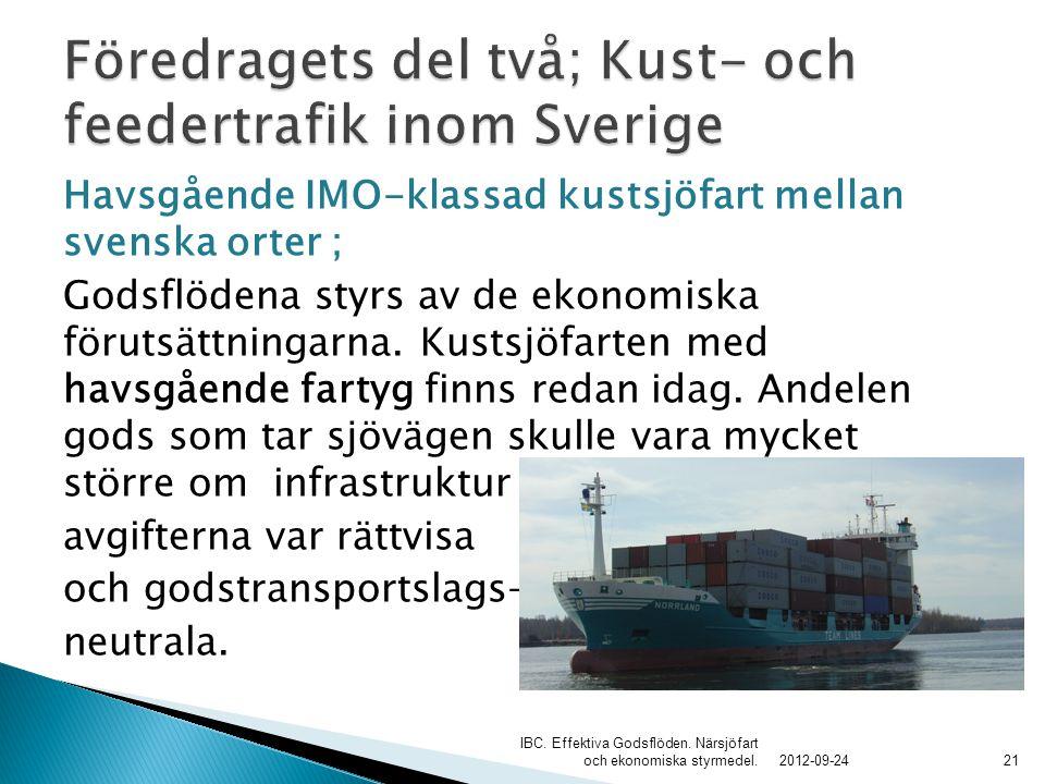 Föredragets del två; Kust- och feedertrafik inom Sverige