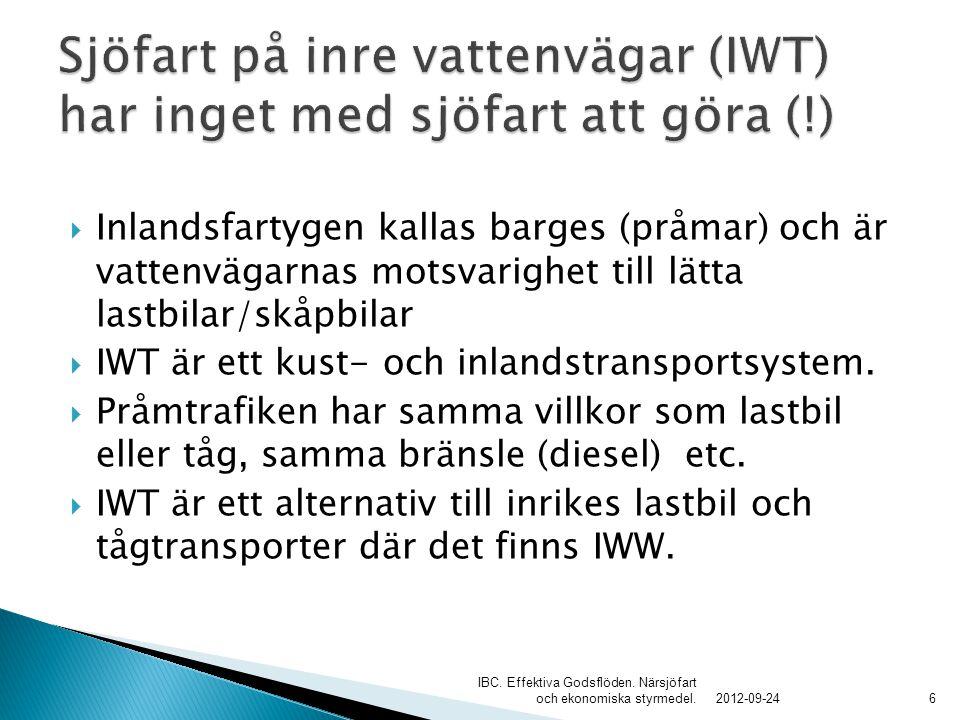 Sjöfart på inre vattenvägar (IWT) har inget med sjöfart att göra (!)