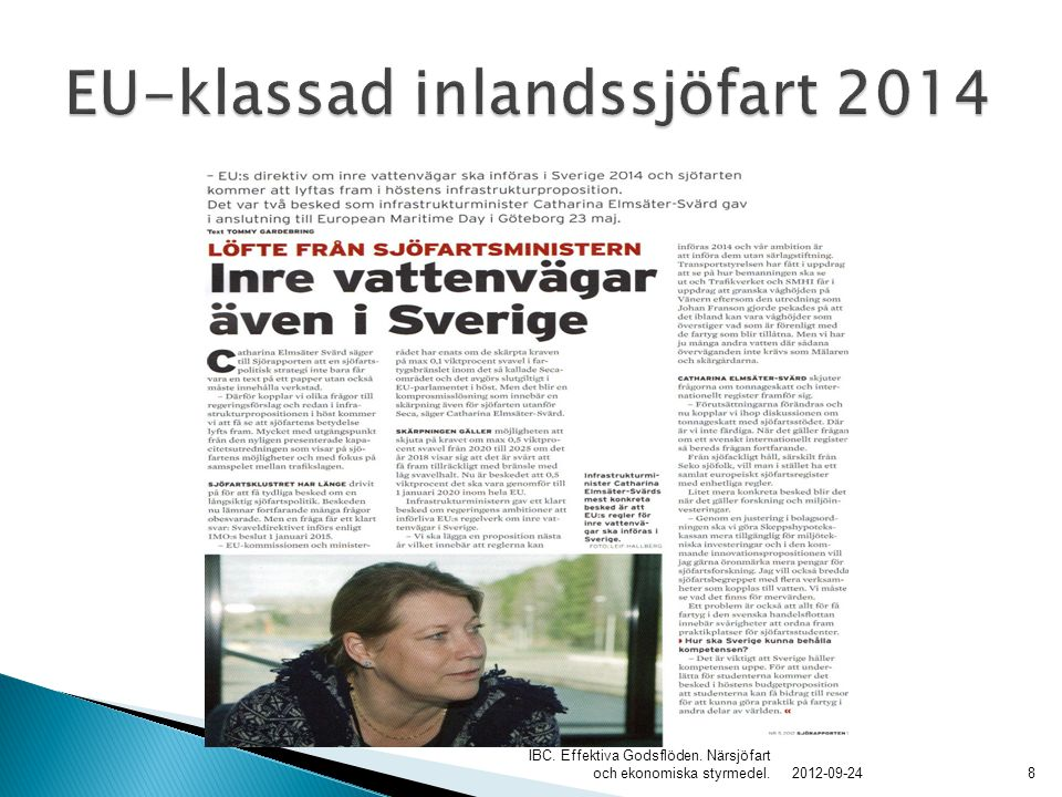 EU-klassad inlandssjöfart 2014