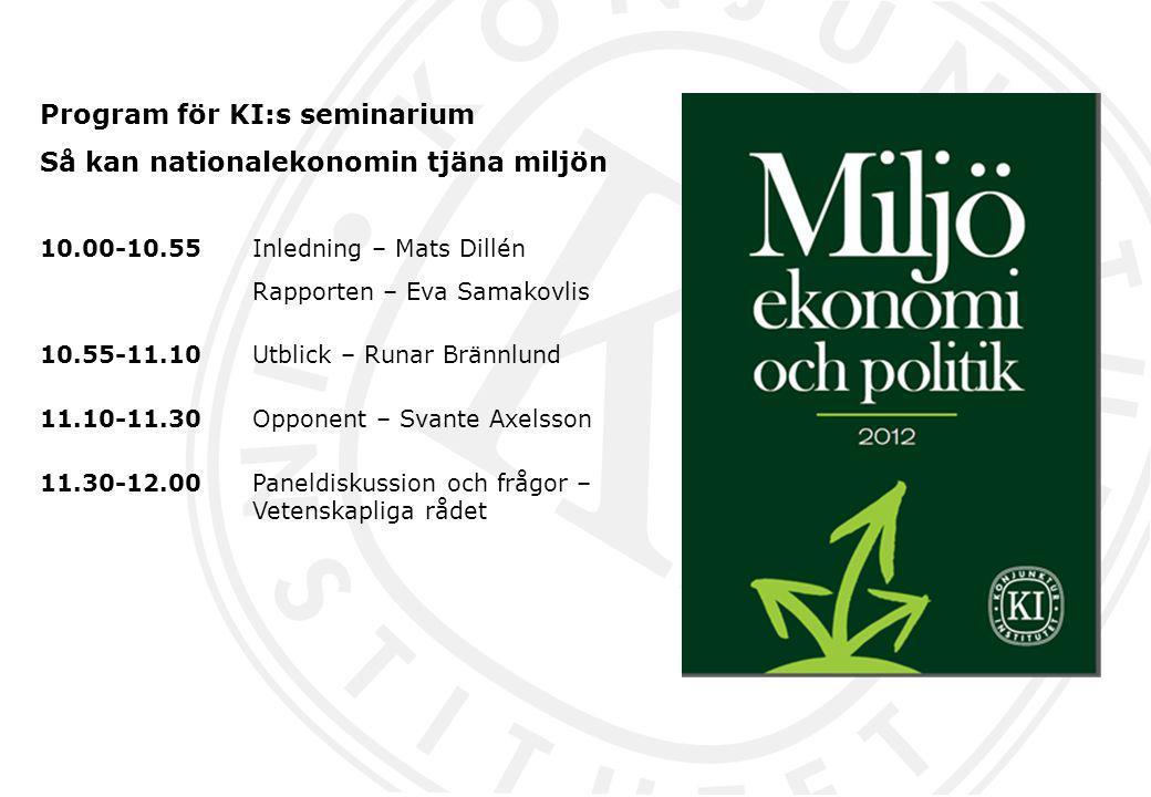 Program för KI:s seminarium Så kan nationalekonomin tjäna miljön