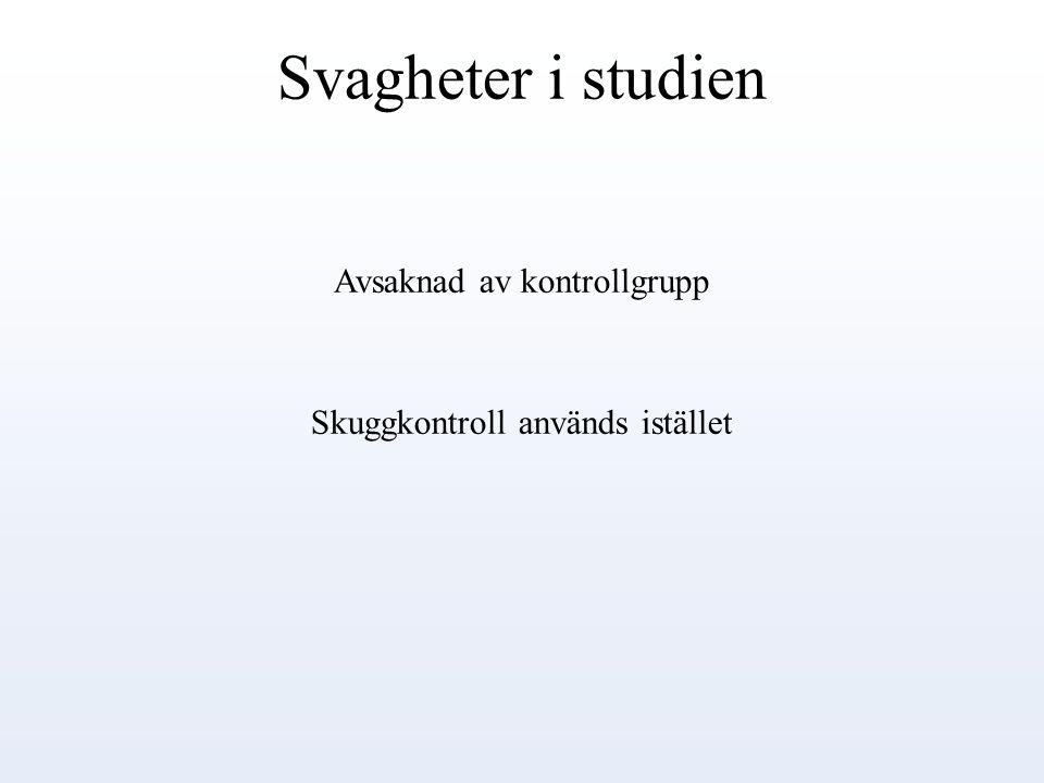 Svagheter i studien Avsaknad av kontrollgrupp