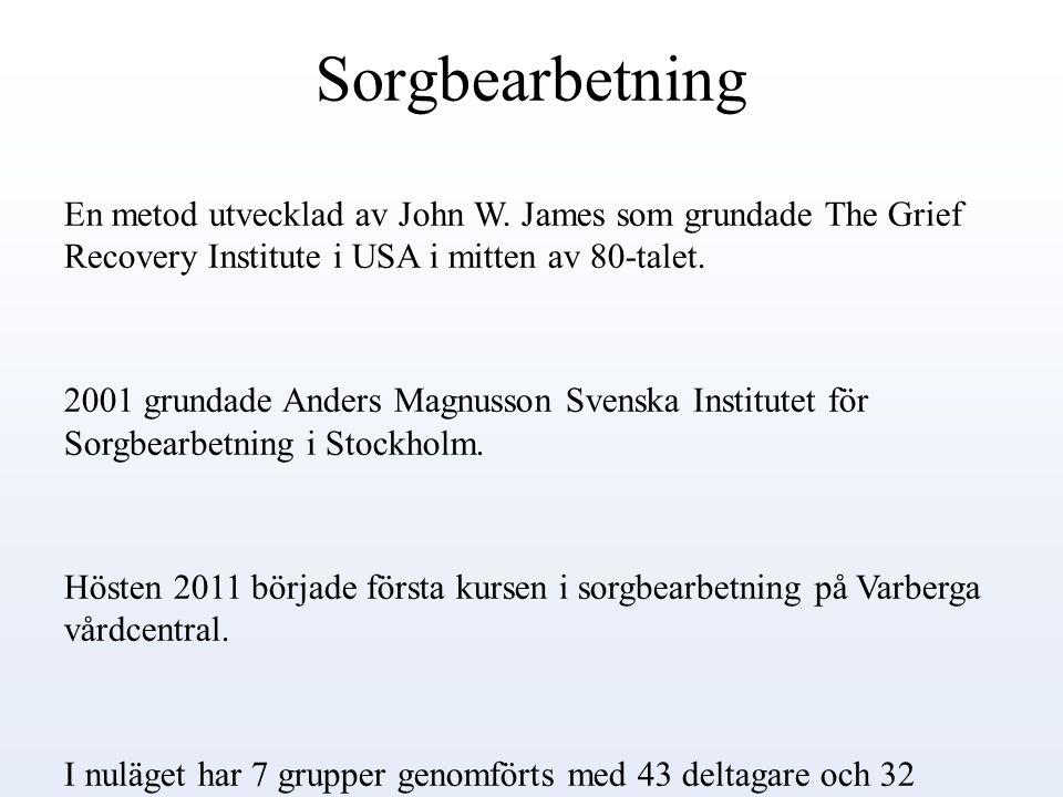 Sorgbearbetning En metod utvecklad av John W. James som grundade The Grief Recovery Institute i USA i mitten av 80-talet.
