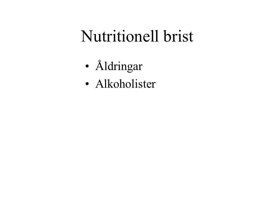 Nutritionell brist Åldringar Alkoholister