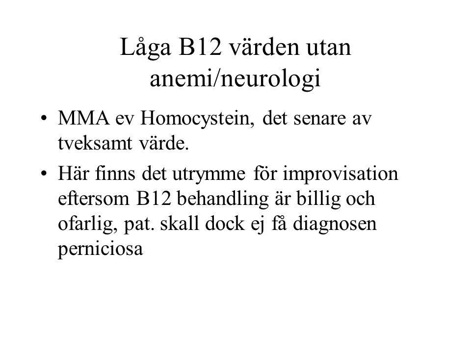 Låga B12 värden utan anemi/neurologi