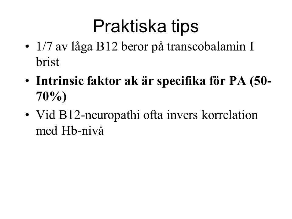 Praktiska tips 1/7 av låga B12 beror på transcobalamin I brist