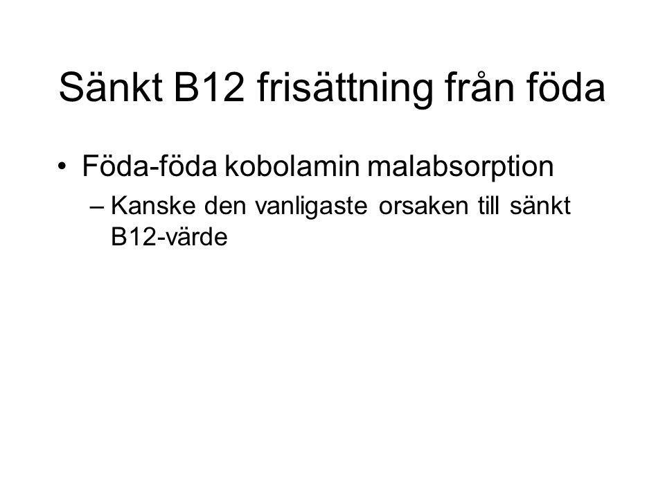Sänkt B12 frisättning från föda