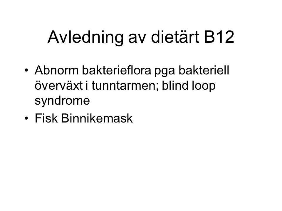 Avledning av dietärt B12 Abnorm bakterieflora pga bakteriell överväxt i tunntarmen; blind loop syndrome.