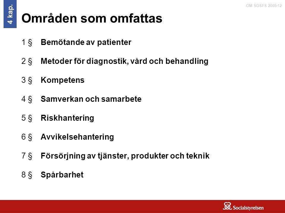 Områden som omfattas 1 § Bemötande av patienter