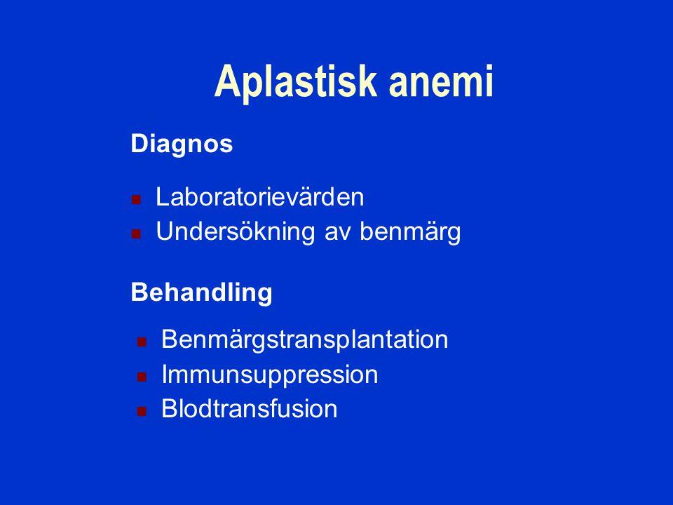 Aplastisk anemi Diagnos Laboratorievärden Undersökning av benmärg