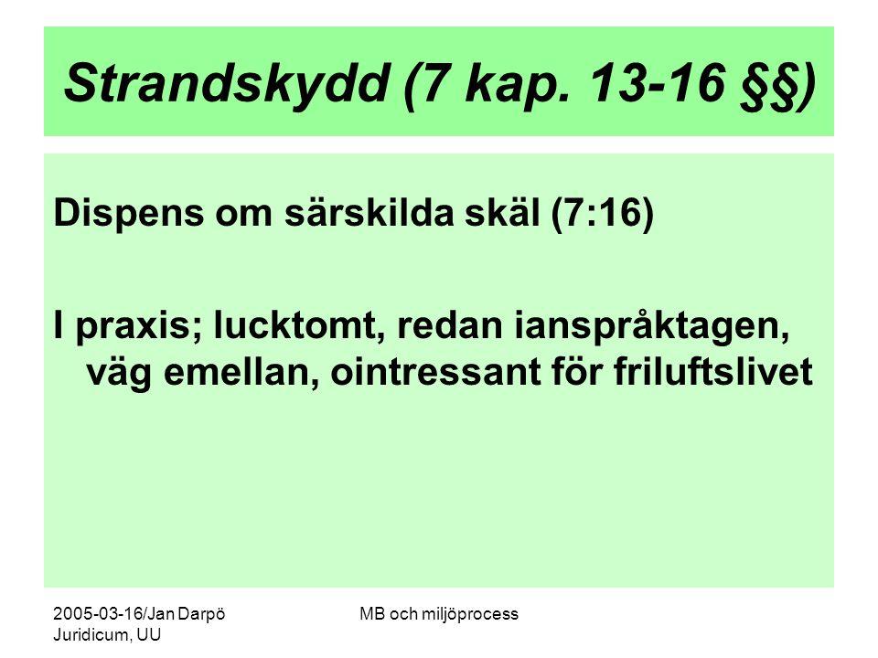 Strandskydd (7 kap. 13-16 §§) Dispens om särskilda skäl (7:16)