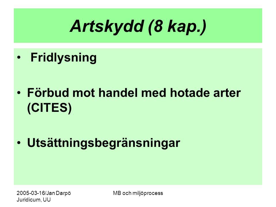 Artskydd (8 kap.) Fridlysning