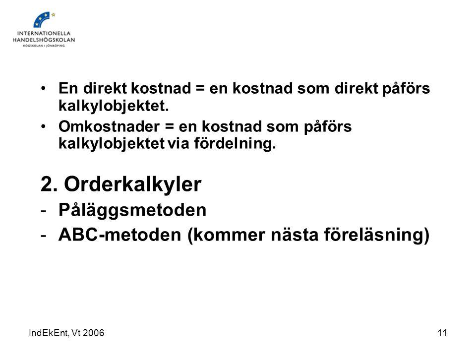 2. Orderkalkyler Påläggsmetoden ABC-metoden (kommer nästa föreläsning)