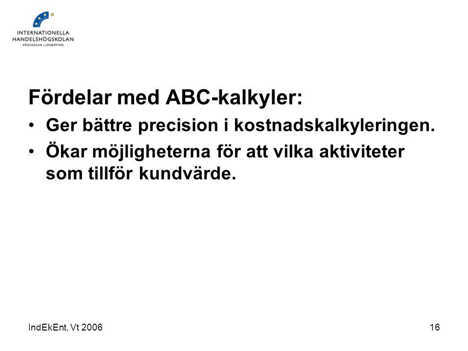Fördelar med ABC-kalkyler: