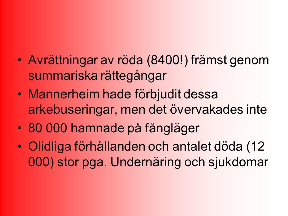 Avrättningar av röda (8400!) främst genom summariska rättegångar