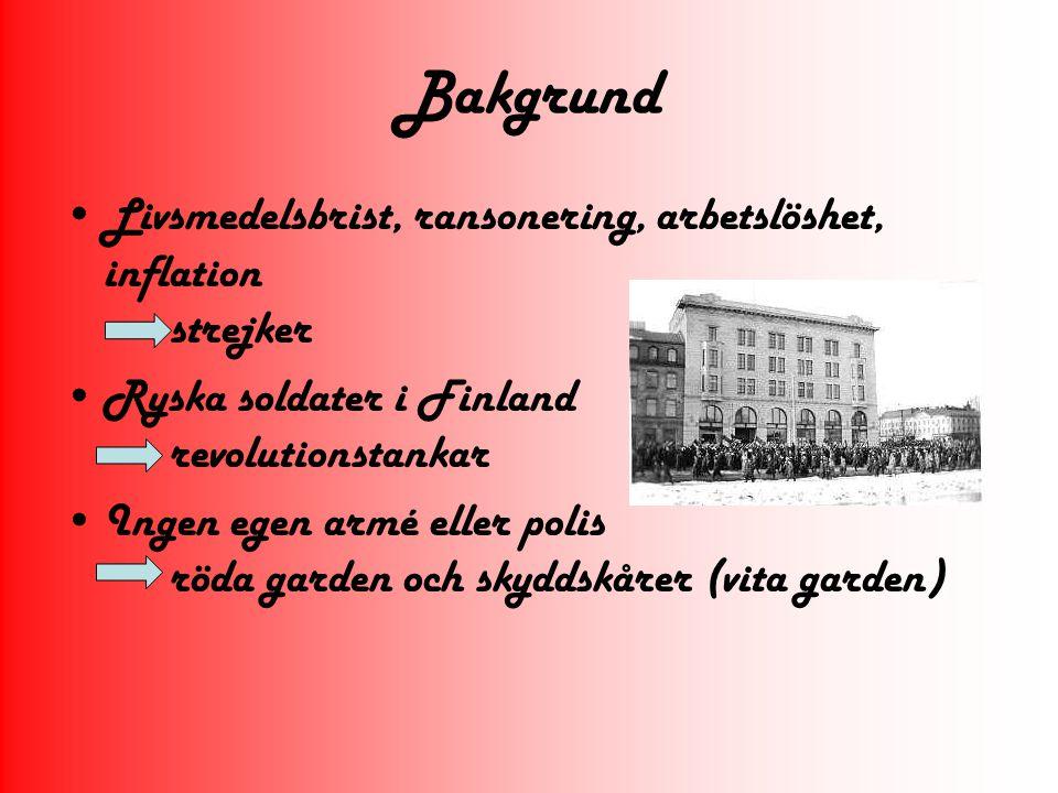 Bakgrund Livsmedelsbrist, ransonering, arbetslöshet, inflation strejker. Ryska soldater i Finland revolutionstankar.