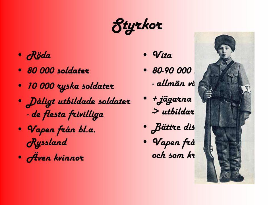 Styrkor Röda 80 000 soldater 10 000 ryska soldater
