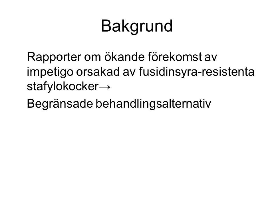 Bakgrund Rapporter om ökande förekomst av impetigo orsakad av fusidinsyra-resistenta stafylokocker→