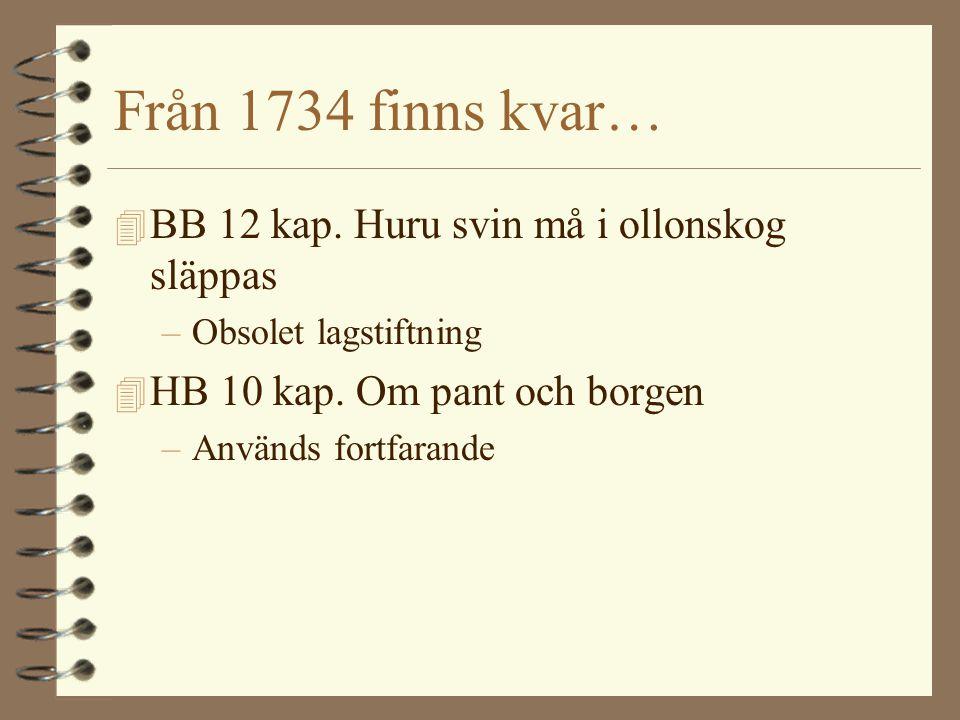 Från 1734 finns kvar… BB 12 kap. Huru svin må i ollonskog släppas