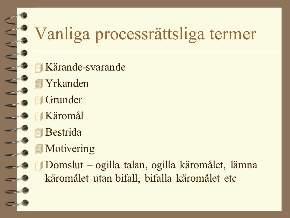 Vanliga processrättsliga termer