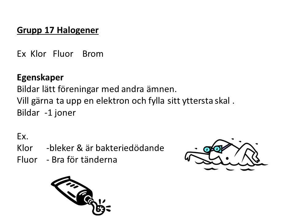 Grupp 17 Halogener Ex Klor Fluor Brom Egenskaper Bildar lätt föreningar med andra ämnen.