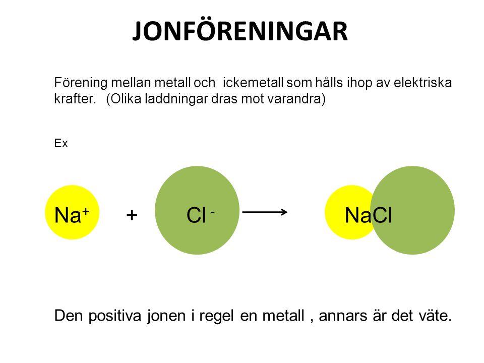 JONFÖRENINGAR Na+ + Cl - NaCl